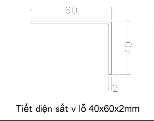 Kích thước mặt cắt sắt V lỗ 40x60x2mm ( V46)